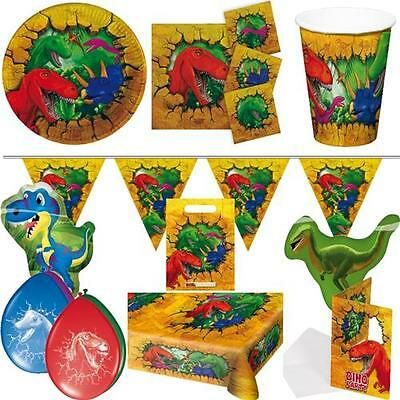 T-REX DINOSAURIER Kindergeburtstag Geburtstag Party AUSWAHLTeller Becher Ballons