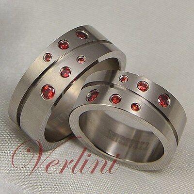 8mm Titanium Rings Matching Set Wedding Bands Round Red R...