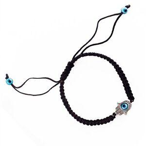 Hamsa Black Silver Bracelet Evil Eye Charm Kabbalah Hand Of Fatima Amulet New