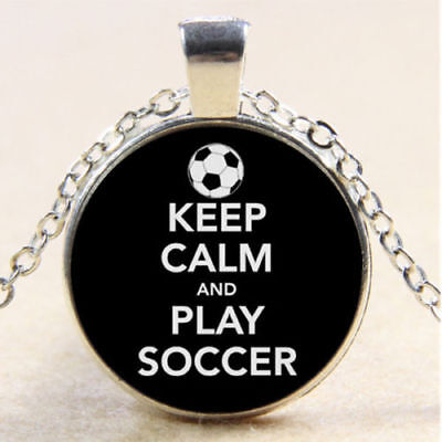 "SOCCER SPORT BALL GAME  pendant Silver 20"" Necklace women mom men FREE $10 GIFT"