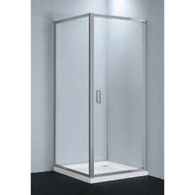 Shower enclosure for corner, glass with door