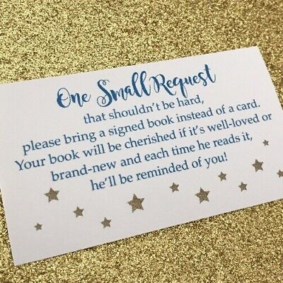 20 Book Request Cards For Boy Baby Shower Invitation Insert - Blue And Gold -