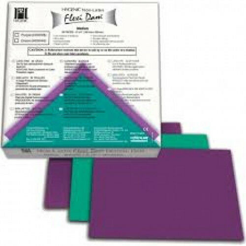 "Coltene Whaledent H09946 Hygenic Flexi Dam Non Latex Green 6"" x 6"" Medium 30/Bx"