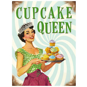 Quality vintage retro 50 39 s style cupcake queen metal wall 50s home decor uk