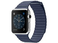 Apple Watch 42mm Stainless Steel Case - Bright Blue Leather Loop