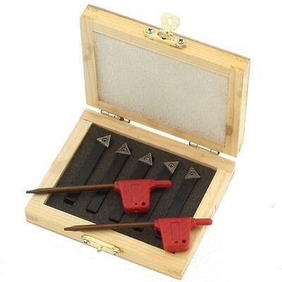 "5 pc 3/8"" Indexable Carbide C6 Insert Tool Bit & Holder Mini Lathe Set"