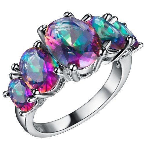 AMAZING Beautiful Cut MYSTIC TOPAZ SILVER RING SIZE 6-7-8-9 Multi Stone Ring Fine Jewelry