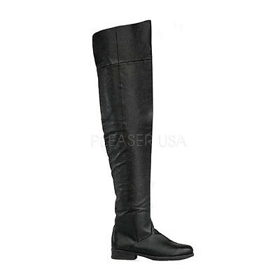 Thigh High Pirate Boots (Men's Renaissance Medieval Pirate Leather Thigh High Costume Boots)