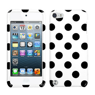 White Black Dots Faceplate Apple ipod Touch 5 5G Protector Hard Case Snap -
