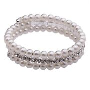 3 Row White Pearl Bracelet
