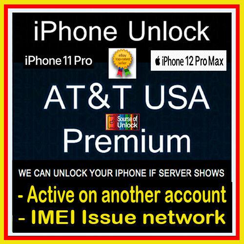 PREMIUM FACTORY UNLOCK SERVICE AT&T IPHONE 12 Pro Max 12 11 Pro XS Max XR X 8 7