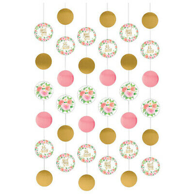 BABY SHOWER Sweet Floral STRING DECORATIONS (6) ~ Party Supplies Cutout Girl