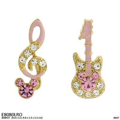 Pink and Gold Tone with Clear Rhinestones Music Theme Post Stud - Pink And Gold Theme