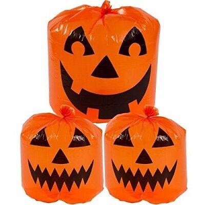 GIANT PLASTIC BIG SIZE ORANGE PUMPKIN HALLOWEEN DECORATION LEAF - Big Halloween Bags