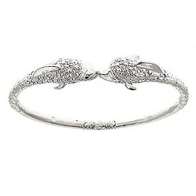 Dolphin .925 Sterling Silver West Indian Bangle (MADE IN USA)
