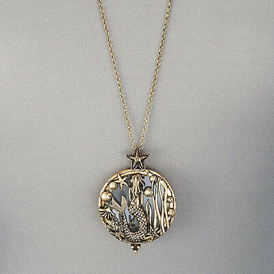 Long Antique Gold Chain Mermaid Sea Life Magnifying Glass Pendant Necklace