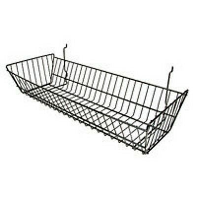 Gridwall Slatwall Baskets Double Sloping - 24 X 10 X 5 Black - 6 Pieces New