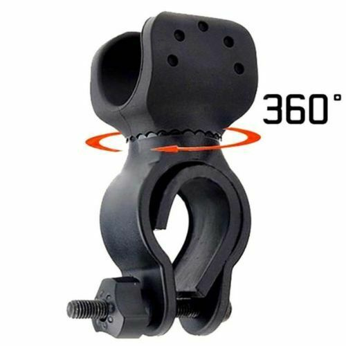 Led Flashlight Torch with 360° Swivel Bicycle Bike Mount Holder Clip Clamp Camping & Hiking