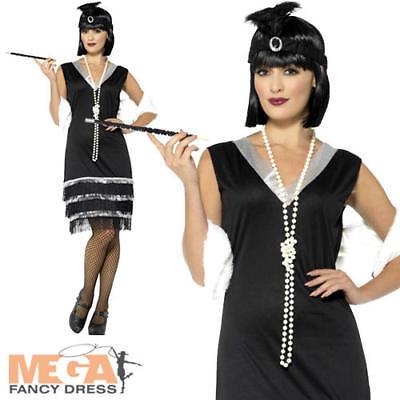 Black Flapper Ladies Fancy Dress 1920s 1930s Jazz Gangster Adults Womens - Black Jazz Flapper Kostüm