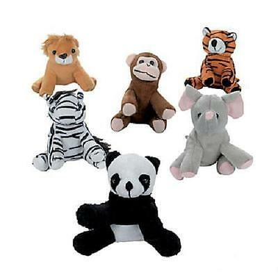 "12 ASSORTED STUFFED ANIMALS 5"" Zoo Jungle Safari Plush #AA39"