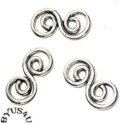 LINK CONNECTOR LARGE FANCY DOUBLE SWIRL 26x13mm ANTIQUE SILVER 10pc
