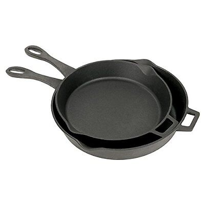 Bayou Classic 7453 Cast Iron Skillet Set, 12-Inch and 14-Inch, Black Cast Iron,