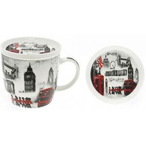 LONDON MUG COASTER SET COFFEE TEA FINE CHINA GIFT SOUVENIR ENGLAND WITH LID NEW