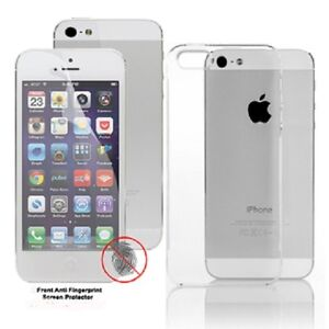 iPhone 5 5S Thin Hard Crystal Clear Phone Back Case Cover Free Screen Protector