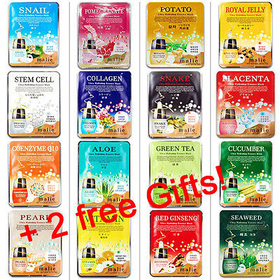 Mask Essence Korean Malie Mask Sheet 16+2pcs Daily Skin Care Functional Essence.