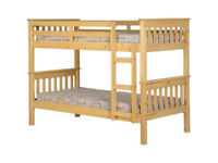 BRAND NEW + Complete + Boxed: Sturdy Solid Oak Bunk Bed