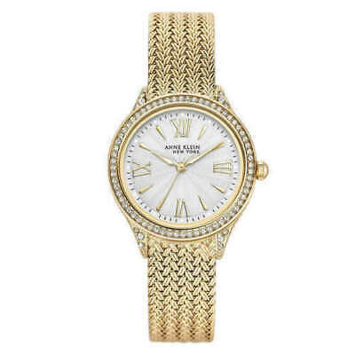 Anne Klein 12/2290SVGB Women's Gold Tone Swarovski Crystal Dress Watch NEW