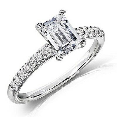 1.10 Ct Emerald Cut Solitaire Round Cut Pave Diamond Engagement Ring F,VVS2 GIA