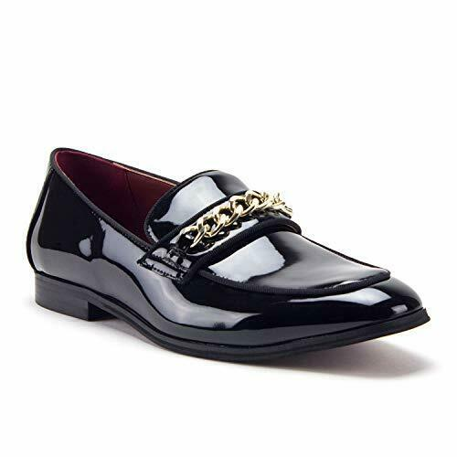 Men's D-463 Gold Chain Loafers Slip On Patent Leather Red Sole Dress Shoes