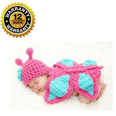 Crochet Cap Butterfly Knit Beanie Photo Prop Costume Set For Unisex Newborn Baby - Butterfly Newborn Costume
