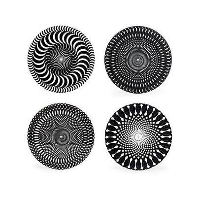 Kikkerland Moire Black & White Optic Drink / Cocktail Coasters - Set of -