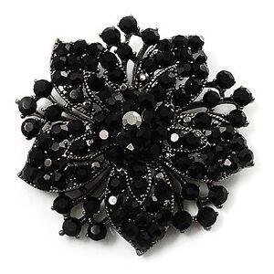 Vintage-Black-Rhinestones-Flower-Shaped-Brooch-Pin-BR175