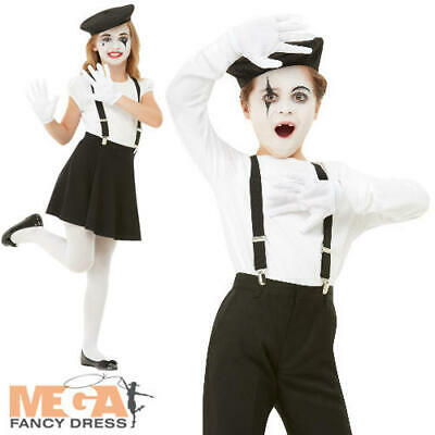 Mime Kit Kids Fancy Dress French Clown Circus Boys Girls Costume Accessory Set