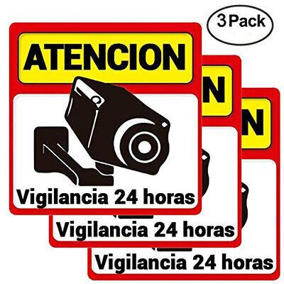 Pack 3 Carteles Rigidos alarma Atencion Vigilancia 24 horas disuasorios exterior