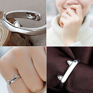 Eyeful Girl Lovely Cat Ear Claw Open Ring Silver Plated Finger Jewelry