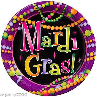 MARDI GRAS Beads LARGE PAPER PLATES (8) ~ Birthday Party Supplies Dinner Lunch (Mardi Gras Plates)