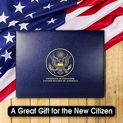 USA Citizenship Naturalization Certificate Padded Textured Faux Leather Holder