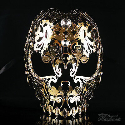 Full Face Skull Mask - Day of the Dead Masquerade Mask for Unisex M7153 [Gold] - Day Of The Dead Faces For Halloween