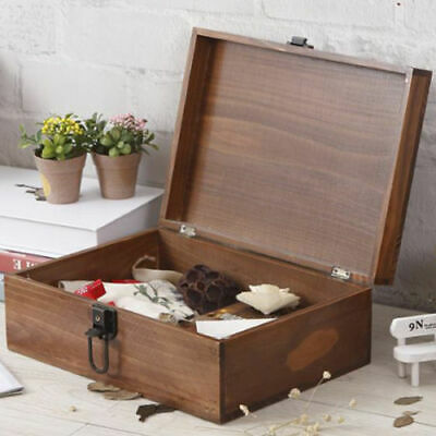 Rustic Wooden Lockable Diary Box Container Keepsake Case + Key storage organiser