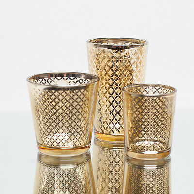 Richland Votive Candle Holder Gold Mercury Lattice Set of 12 Home & Event Decor