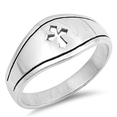 (.925 Sterling Silver Medieval Cross Religious Fashion Ring Size 5-12 NEW)