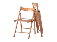 4 IKEA folding chairs 2 birch 2 red colour