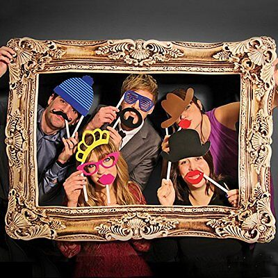 Photo Booth Props With Frame Hat Mustache Wedding Birthday Holiday Party Fun ()