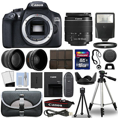 Canon 1300D   Rebel T6 Dslr Camera   18 55Mm 3 Lens Kit   16Gb Top Value Bundle