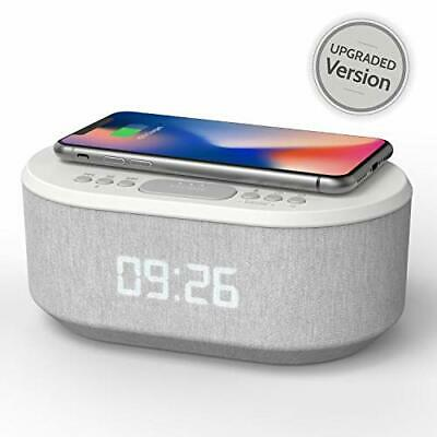 Bedside Radio Alarm Clock with USB Charger, Bluetooth Speaker, QI Wireless