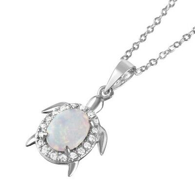 .925 Sterling Silver Oval Opal Clear CZ Tiny Turtle Pendant Necklace Fashion Jewelry